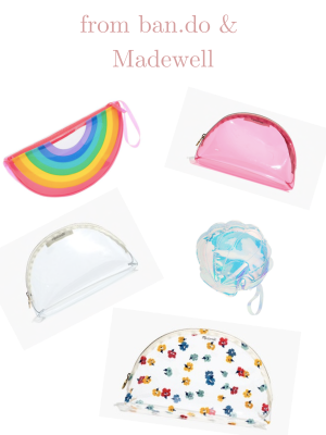 Compilation of different clear PVC bags from ban.do and Madewell