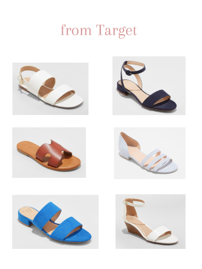 compilation of strappy and slide sandals from Target