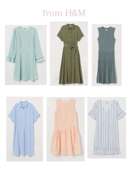 3 solid dresses from HM and 3 patterned dresses from HM for Easter
