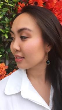 Strut with Susan in green drop earrings