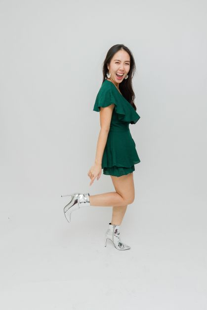 Holiday outfit with silver shoes